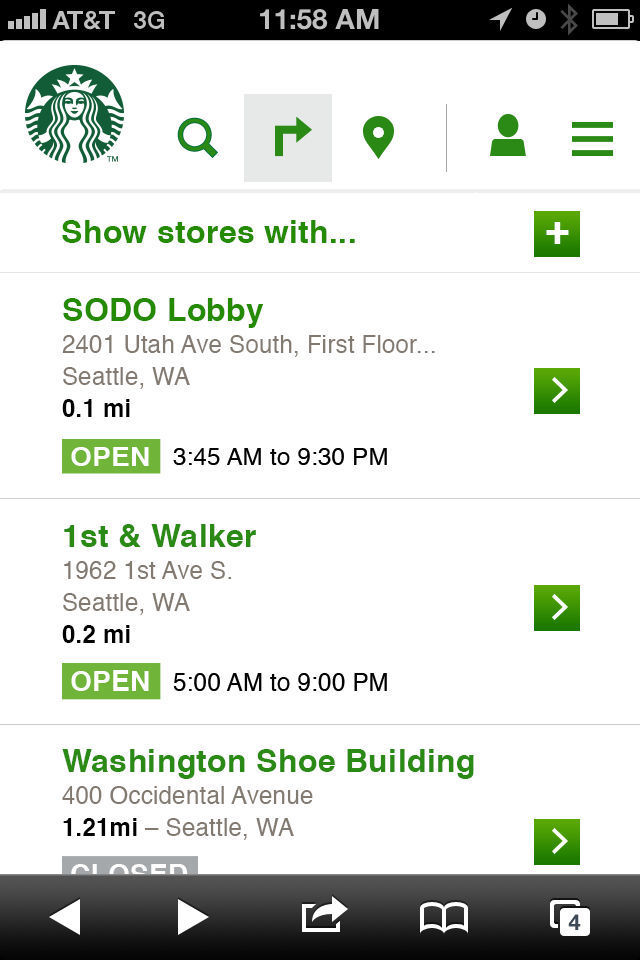 This 2012 representation of the Starbucks Store Locator is a design layout for small format display. The picture is a screenshot of the interface on a phone; top tab navigation to search is open and takes up the entire  screen containing a search input, store feature expandable menu, and a list of links displaying store details like location name, address, open status and store hours.