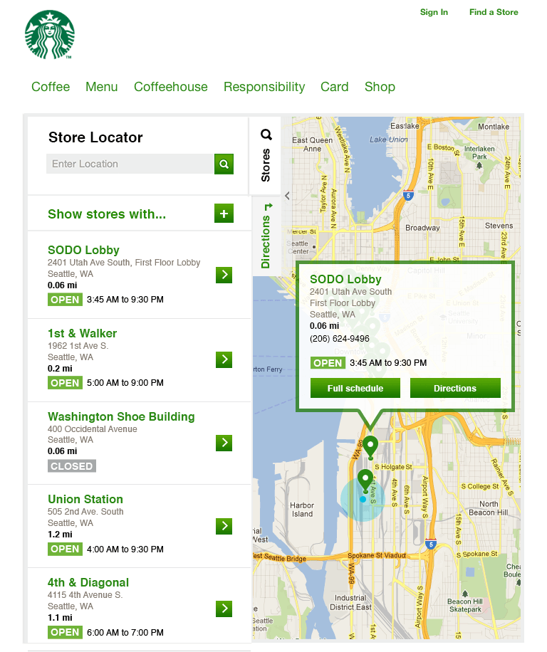 This 2012 representation of the Starbucks Store Locator is a design layout for medium format display. The picture is a screenshot of the interface on a tablet; top left tab navigation to search is open and takes up the left half of the screen containing a search input, store feature expandable menu, and a list of links displaying store details like location name, address, open status and store hours. Behind the navigation is a map with upsidedown teardrop pins at locations of interest.